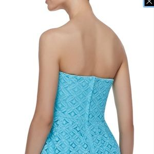 Caitlin Strapless XOXO Lace Dress in Shorely Blue